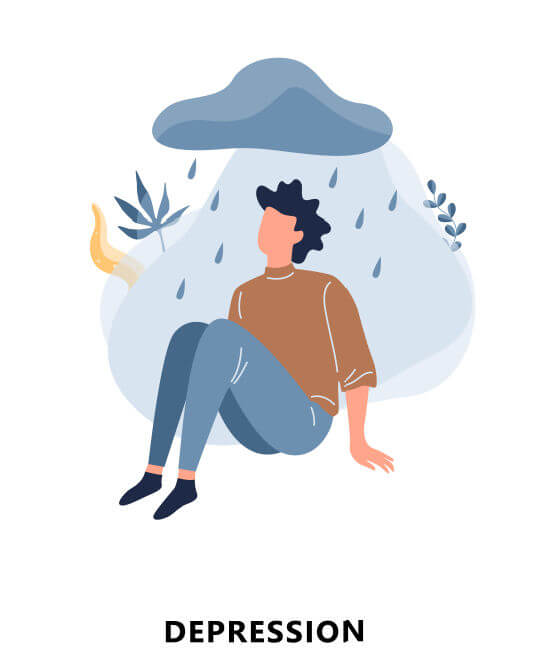うつ病患者のイラスト